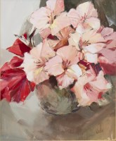 Lot 6-* ETHEL WALKER, GLADIOLI oil on board, signed...