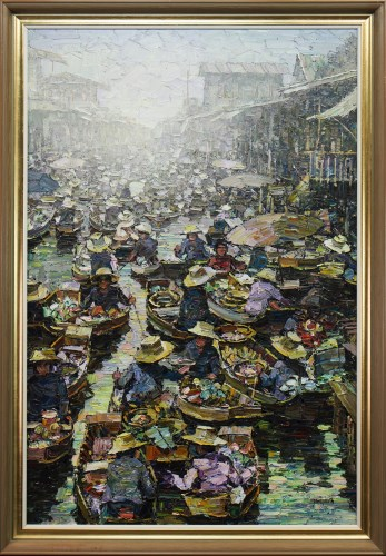 Lot 13-YONGYOUTH, BANGKOK CANAL MARKET oil on canvas,...