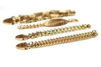 Lot 509-FOUR VARIOUS NINE CARAT GOLD BRACELETS comprising ...