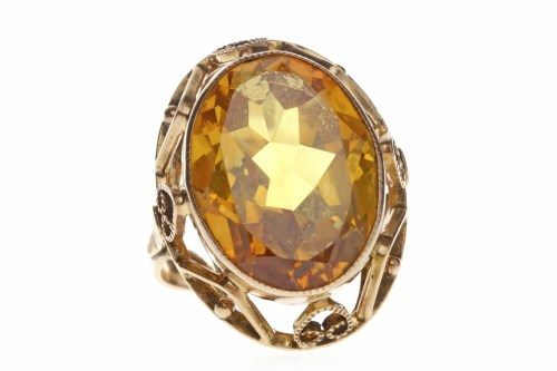 Lot 754-CONTINENTAL GOLD YELLOW SAPPHIRE DRESS RING set...
