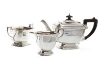 Lot 801-GEORGE VI SILVER ART DECO THREE PIECE TEA SERVICE ...