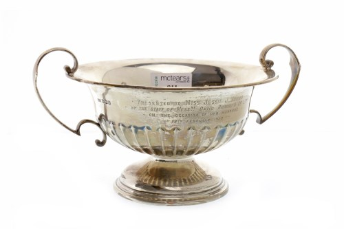 Lot 811-GEORGE V SILVER TWO HANDLED TROPHY CUP maker...