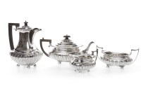 Lot 817-EDWARD VII SILVER FOUR PIECE TEA AND COFFEE...