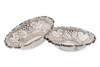 Lot 822-PAIR OF VICTORIAN SILVER BON BON DISHES maker...