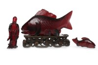 Lot 1007-20TH CENTURY CHINESE BAKELITE CARVED CARP on a...