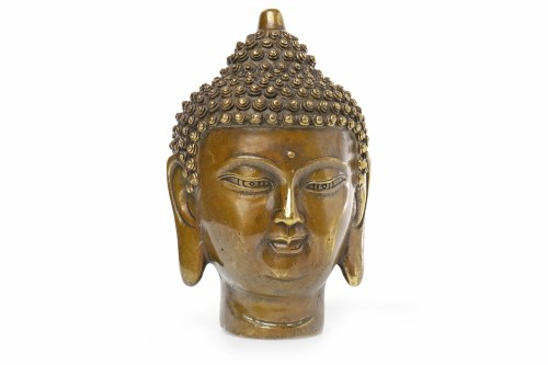 Lot 1009-20TH CENTURY JAPANESE BRONZE HEAD OF BUDDHA mark...