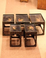 Lot 1015-20TH CENTURY JAPANESE NEST OF FIVE LACQUERED...