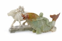 Lot 1045 - TWO 20TH CENTURY CHINESE SOAPSTONE CARVINGS...