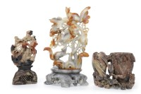 Lot 1047 - THREE 20TH CENTURY CHINESE SOAPSTONE CARVINGS...