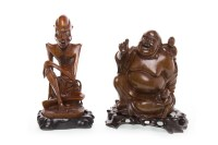 Lot 1084 - 20TH CENTURY CHINESE WOOD CARVING OF A BUDDHA...
