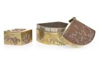 Lot 1086 - 20TH CENTURY JAPANESE BRONZE FAN SHAPED BOX...