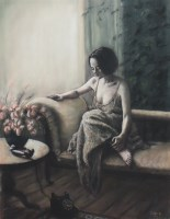 Lot 198-* KAREN MCINTYRE, DOUBLE OR QUITS pastel on paper,...