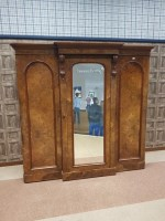 Lot 1602-VICTORIAN BURR WALNUT THREE DOOR BREAKFRONT...