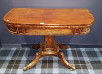 Lot 1606-REGENCY MAHOGANY 'D' SHAPED FOLD OVER TEA TABLE...