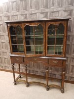 Lot 1617-WALNUT CHINA DISPLAY CABINET OF QUEEN ANNE DESIGN ...