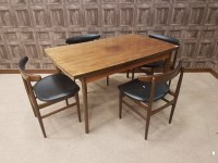 Lot 1618-RETRO ROSEWOOD DINING SUITE comprising a bowed...