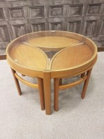 Lot 1619-RETRO TEAK CIRCULAR NEST OF OCCASIONAL TABLES the ...