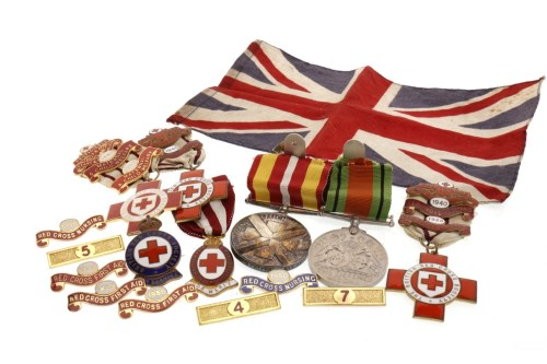 Lot 1627-GROUP OF BRITISH RED CROSS SERVICE MEDALS AND...