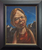 Lot 8-* JOE O'BRIEN, MOON KID oil on canvas, signed...