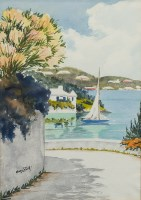 Lot 25-* MARY ZUILL, HARBOUR SCENE watercolour on paper, ...