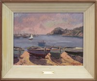 Lot 35-* PERE MANERA (SPANISH), BEACHED BOATS oil on...
