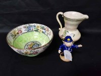 Lot 10-MALING VASE AND BOWL along with Royal Worcester...