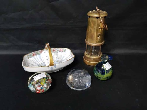 Lot 13-HOCKLEY MINERS LAMP along with a hand painted...