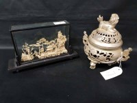 Lot 19-20TH CENTURY WHITE CHINESE METAL CENSER with faux ...
