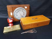 Lot 22-BAROMETER along with a stationary box, grape...
