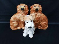 Lot 29-PAIR OF WALLY DOGS AND ANOTHER CERAMIC DOG (3)