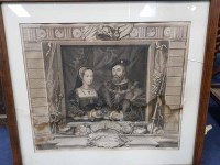 Lot 39-TWO LARGE MONOCHROME PRINTS OF HENRY VIII AND...