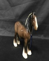 Lot 47-BESWICK FIGURE OF A HORSE along with a cranberry...