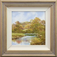 Lot 14-* TERRY EVANS, CALM RIVER SCENE oil on canvas...