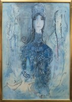 Lot 84-MAIE E JARVIE, LADY IN BLUE watercolour on paper, ...