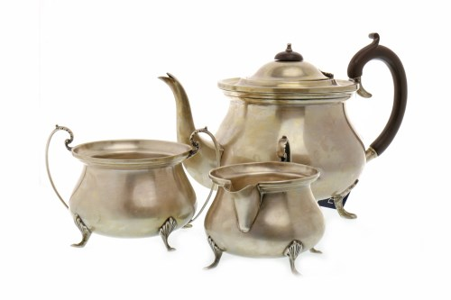 Lot 834-GEORGE V SILVER THREE PIECE TEA SERVICE maker...