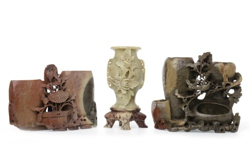 Lot 1043-THREE 20TH CENTURY CHINESE SOAPSTONE VASES each...