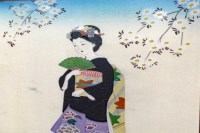 Lot 1137-MID 20TH CENTURY JAPANESE PAINTING of a geisha...