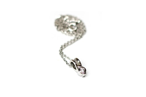Lot 507-EIGHTEEN CARAT WHITE GOLD DIAMOND PENDANT ON...