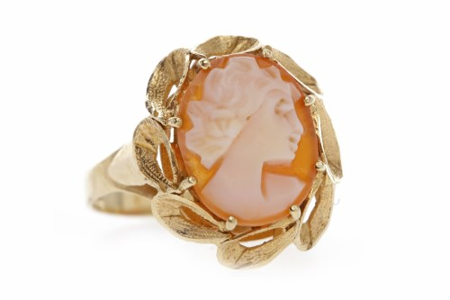 Lot 570-NINE CARAT GOLD CAMEO RING set with a shell cameo ...