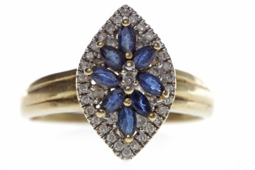 Lot 655-FOURTEEN CARAT GOLD BLUE GEM AND DIAMOND CLUSTER...