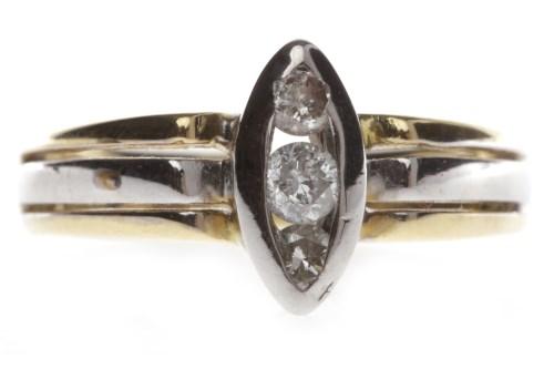 Lot 673-EIGHTEEN CARAT GOLD DIAMOND DRESS RING the...