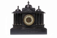 Lot 1457-VICTORIAN FRENCH BLACK SLATE MANTEL CLOCK the two-...