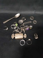 Lot 27-LOT OF SILVER AND OTHER DRESS RINGS also brooches ...