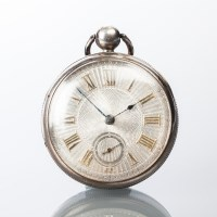 Lot 1613 - STERLING SILVER DIAL GENTLEMAN'S OPEN FACE...