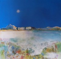 Lot 2030 - MAY BYRNE, HOUSE BY THE SHORE mixed media,...