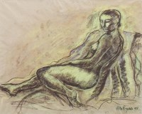 Lot 19-* HUGH GERARD BYARS, RECLINING NUDE crayon on...