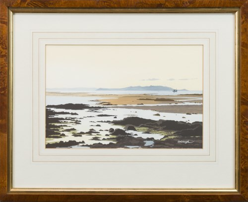 Lot 28-* FRANK COLCLOUGH, COASTAL SCENE WITH BOAT IN...