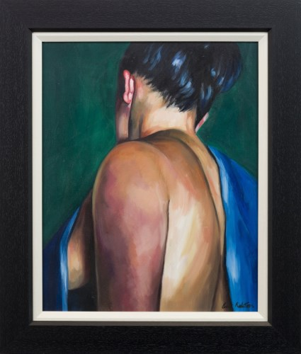 Lot 34-* GREER RALSTON, THE BLUE TOWEL oil on canvas,...