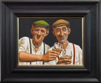 Lot 93-GRAHAM H D MCKEAN, THE WHISKY DRINKERS oil on...