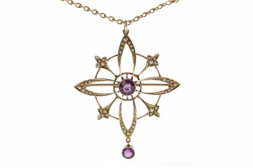Lot 15-EARLY TWENTIETH CENTURY AMETHYST AND PEARL...
